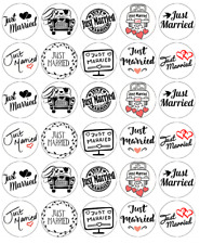 30 X Just Married Wedding Cupcake Toppers Edible Wafer Paper Fairy Cake Topper