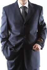 MENS SUPER 150S 3 BUTTON NAVY STRIPE DRESS SUIT 36R, PL-65713-NAV