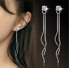 Women Crystal Drop Dangle 925 Sterling Silver Plated Tassel Ear Stud Earrings