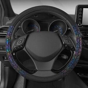 Sparkle  Steering Wheel Cover for Women Black Cute Geometric Prism Glitter Bling
