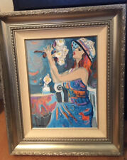 Original Oil Painting - Girl with Roses - by Isaac Maimon 20x24 Framed