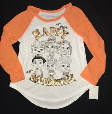 girl New Nwt 18 month Happy Monsters Halloween Shirt Top white orange Gold Print