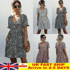 Womens Leopard Print Smock Dress Ladies Holiday Beach Casual Loose Sundress UK