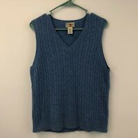 L.L. Bean Women's Cable Knit Sweater Vest Large Lambs Wool Blue Casual Comfort