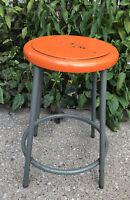 VTG Royal ADJ. Metal Orange Shop Industrial Factory Steampunk Retro Stool Chair
