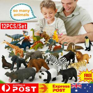 12PCS Kids Plastic Figures Models Wild Ocean Animal Dinosaur Toys Birthday Gifts