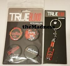 NEW TRUE BLOOD BUTTON BADGE PACK + KEY CHAIN FREE S/H KEY RING PINBACK