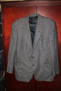 OXXFORD CLOTHES PURE CASHMERE TWEED  BLACK GRAY  BLAZER SPORT JACKET SIZE  42