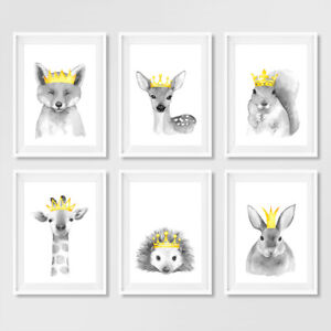 Woodland Animal with Crowns Nursery Prints Childrens Bedroom Pictures Decor Grey