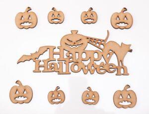 Halloween Wooden MDF Shape - Happy Halloween with cat & pumpkins - 9 items set