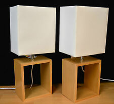 PAIR OF 2 TABLE LAMPS  WOOD CUBE BASE CREAM SHADE