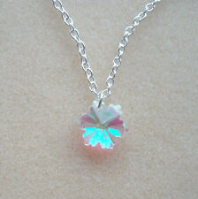 Pretty Clear AB Crystal Snowflake Flower Pendant S/P Chain Necklace in Gift Bag