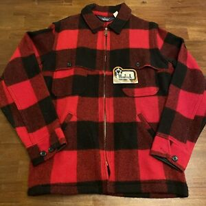 WOOLRICH Mackinaw Buffalo Jacket Plaid Wool Hunting Coat Jacket USA VTG