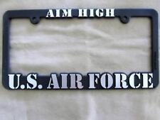 U.S. Air Force AIM HIGH Auto License Plate Frame Black Silver