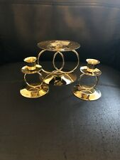 Gold wedding band ring unity candle holder, 3 piece set no box