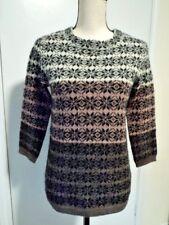 Garnet Hill Nordic Mohair Blend Pullover 3/4 Sleeves Sweater Sz XS ~EUC~