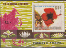 W EQUATORIAL GUINEA 1442-B310 ASIA FLOWERS PERFORATED SOUVENIR SHEET