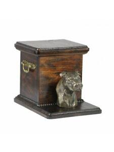 Urne American Pit Bull Staffordshire Terrier Kopf - 4095 Denkmal Statue Schatull