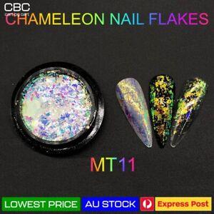 Chameleon Nail Flakes Duo Chrome Powder Polish Mirror Transparent Nail Art MT11