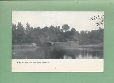 LAKE & PIER At GLEN OAK PARK In PEORIA, IL On Unused Vintage Postcard