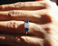 1.17Ct Cushion Cut Blue Sapphire & Diamond 14K White Gold Over Three Stone Ring