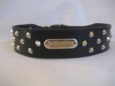 Leather Studded ID Staffy Dog Collar