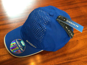 New MISSION Instant Cooling  Hat- Unisex Baseball Cap Cools When Wet-Cobalt/Gray