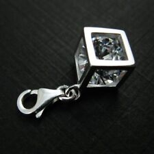 Sterling Silver Bracelet Charms-CZ Diamond Cube with clasp, Add on Charm (1 pc)