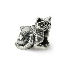 Exotic Shorthair Cat Bead .925 Sterling Silver Antique Finish Reflection Beads