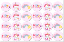 "24x Unicorn Rainbow Edible Wafer Circle Cupcake Toppers Decorations 1.6"" each"