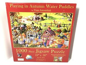 1000 Piece Puzzle Playing In Autumn Water Puddles By Tom Antonishak Halloween