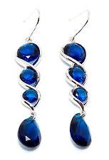 Silver Blue Sapphire 12.4ct Drop Earrings