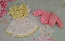 Two Darling Vintage Handmade Crochet Doll Clothing Pieces Small Dolls