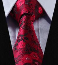 Mens Tie - Rose Red Black Grey Necktie - Italian Wedding Paisley FREE HANKY