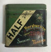 Half and Half Buckingham Smoking Roll Tobacco Bright Cut Plug Tin Can, 1930