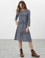 Joules Womens Alena Drawstring Waist Dress - Navy Creme Speckle