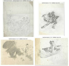4 ORIGINAL ART CONCEPT DESIGNS by CREIG FLESSEL - SANDMAN ADVENTURE COMICS #42