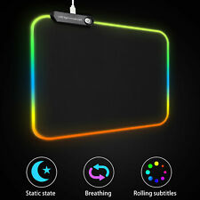 RGB Colorful LED Lighting USB Wired Keyboard Mat Gaming Mouse Pad for PC Laptop