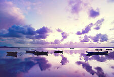 Framed Print - Small Rowing Boats on a Purple Lake (Picture Poster Art Landscape