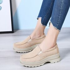 Women Casual Comfort Shoes Slip On Round Toe Wedge Low Heel Platform Loafers