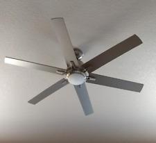 "54"" Large Office Ceiling Fan Remote Industrial Brushed Nickel LED Loft Light"
