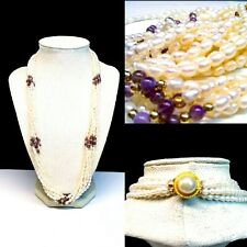 Vintage 925 Gold Plated Silver Amethyst & White Cultured Pearl Necklace