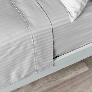 Duvet Sets With Zipper &Corner Ties 1000 TC Egyptian Cotton Light Grey Striped