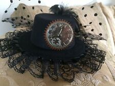 STEAMPUNK FASCINATOR MINI TOP HAT WITH SILVER CLOCK AND COG DESIGN