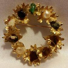 BSK Multi Gemstone Wreath Brooch Pin Gold Tone Tigers Eye Quartz Pearl Garnet