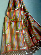 Vintage Silk Scarf, Multicolor Stripes & Dots, Long Hand rolled, by Burmel