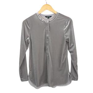Lauren Ralph Lauren Gray Velour Button Shirt Long Sleeves Size Petite Small