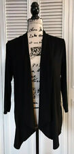 Easywear By Chicos Size 1 Black 3/4 Sleeve Open Front Drape Cardigan Jacket