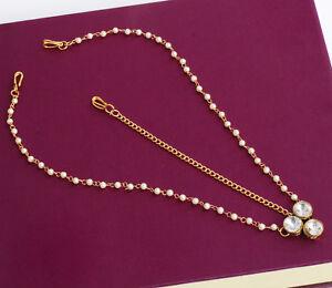 Indian Bollywood Gold Tone Pearl Forehead Maang Tikka Ethnic Wedding Jewelry Set