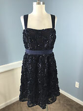 Anthropologie Phoebe Couture Navy Blue Cocktail Party Dress M 10 Embellished